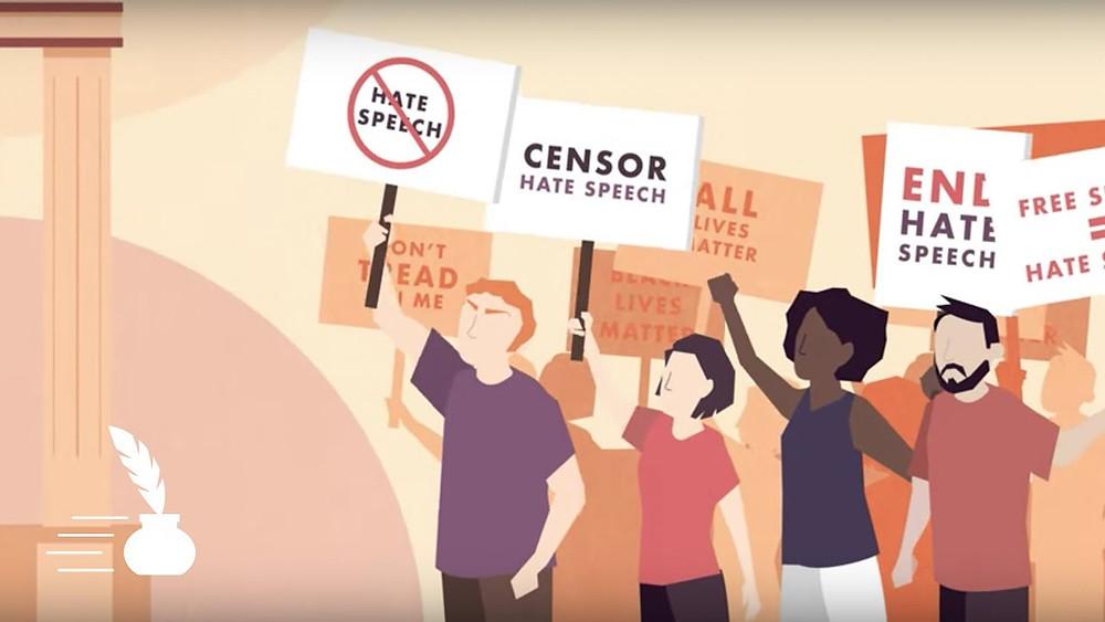 Nefret söylemini protesto eden insanlar animasyonu.