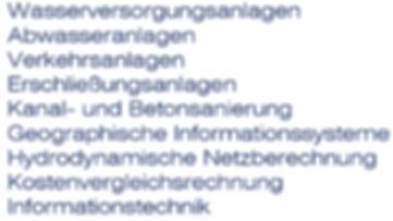 Wasserversorgungsanlagen, Abwasseranlagen, Verkehrsanlagen, Erschließungsanlagen, Kanalsanierung, Bauwerksanierung, Betonsanierung, Geographische Informationssysteme (GIS), Hydrodynamische Netzberechnungen, Kostenvergleichsrechnung (nach LAWA), Informationstechnik