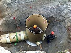 Kanalbau und Bau der Wasserversorgung Augartenweg, Kempten, Kanalrohre GFK, Kanalschschächte GFK