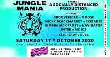 Tonight 17th October, Zoom Dance live at the Oval for Jungle Mania