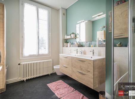 Salle de bains à l'allure douce & naturelle