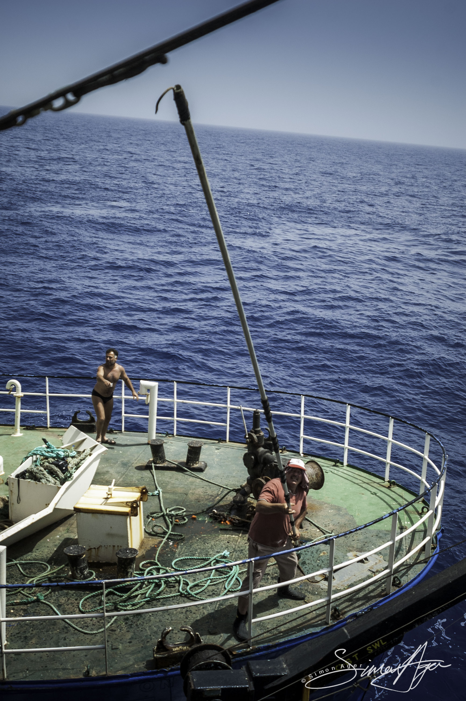 SA Libya Libyan Waters Sea Shepherd Releasing Bluefin Tuna Rosaria Crew grappling hook 001 2232