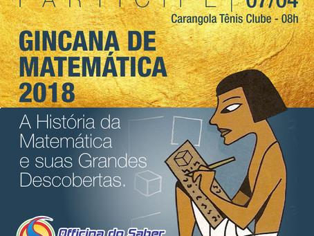 Ginacana de Matemática da Escola Officina do Saber será neste sábado (07/04) no Carangola Tênis Club