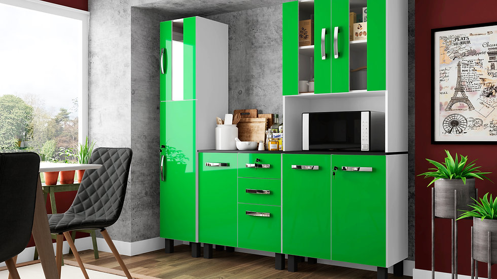 3 pieces Wooden Kitchen Cabinet High Gloss Finish