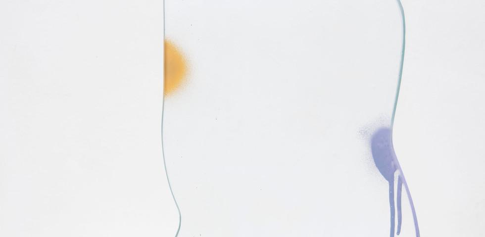 Poder de Relaciones  Mara Caffarone esmalte sintético en aerosol sobre vidrio y base de cemento 2019, 55cm x 37 cm