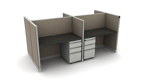 Office Workstations - Cluster of 4 -Layout #6