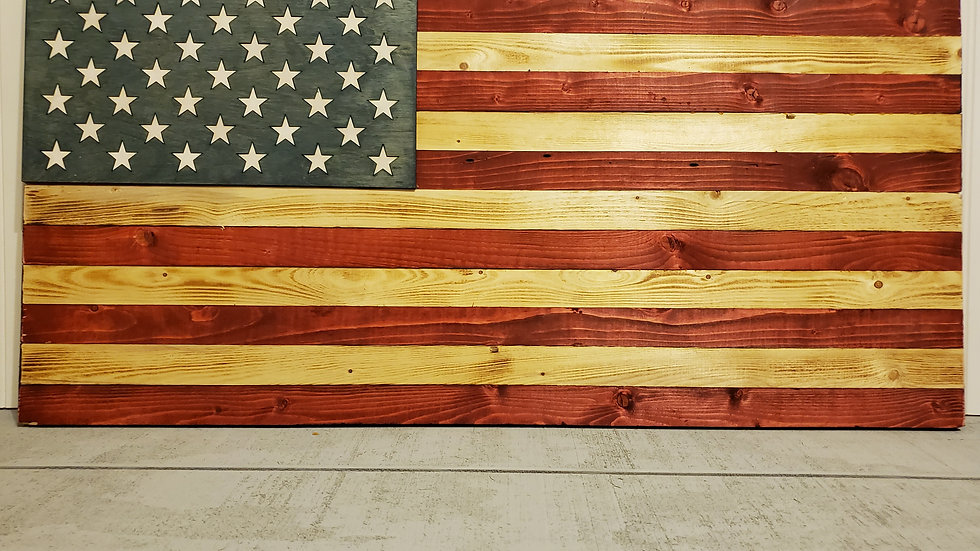 Large Rustic and Worn American Flag w/ Optional Military Branch