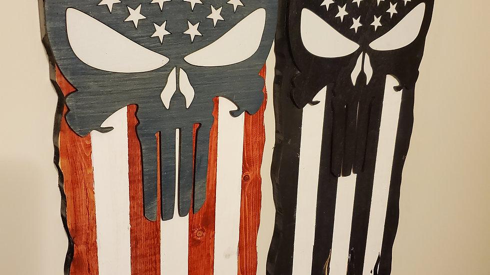 Battle Worn Flag Punisher Skull, Man Cave Decor, Wooden American Flag
