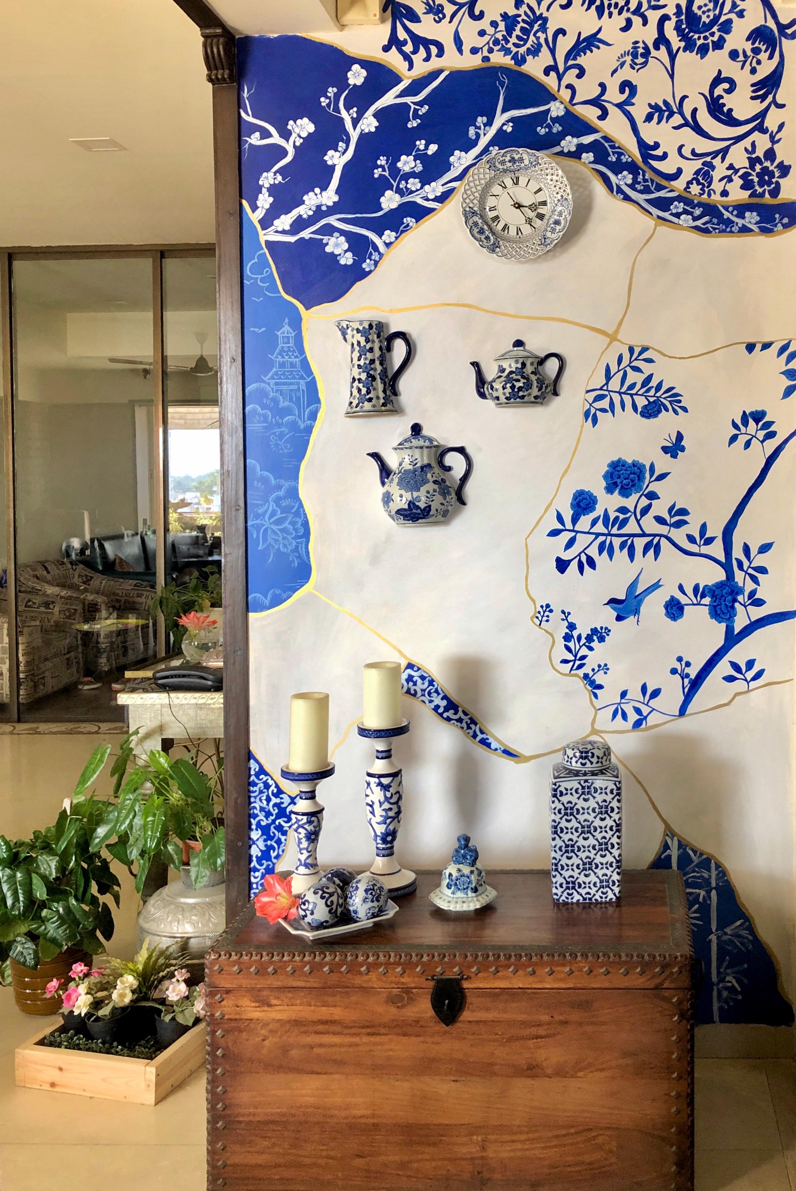 Blue & White Ceramic Inspired Mural