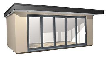 Rendered Garden Room with Bi-Fold doors
