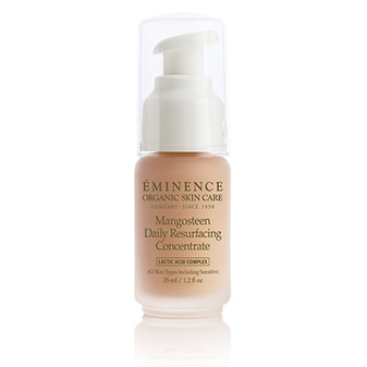 Gently resurface and refine pores to refresh the skin's natural appearance. The mangosteen in this leave-on concentrate promotes radiance while the Lactic Acid Complex removes and prevents buildup. Key Ingredients:  Mangosteen: A super fruit that helps protect skin from drying environmental stressors while promoting natural radiance Lactic Acid Complex (Lactic Acid, Ribose, Red Clover Flower Extract): A proprietary blend of actives; gently resurfaces skin and refines pores for a more luminous, even, and youthful looking complexion Lactic Acid: Gentle alpha-hydroxy-acid (AHA) exfoliant; removes surface buildup and improves skin hydration for a brighter, smoother complexion Ribose (from Corn Seeds): Promotes the look of smoother, revitalized skin Red Clover Flower Extract: Refines and improves skin tone to minimize pore size
