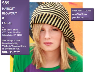 March Madness $89 Haircut with Blowout & Facial with Wendi and Gwen at Blue Velvet Salon call or TEX