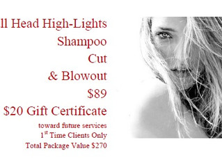 $89 Highlights Cut & Blowout + Gift Certificates OFFER EXPIRED JANUARY 31, 2014