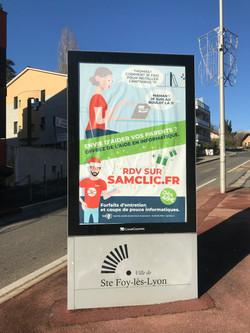 Publicité format abribus Ste Foy Les Lyon pour Samclic.fr #Yllog