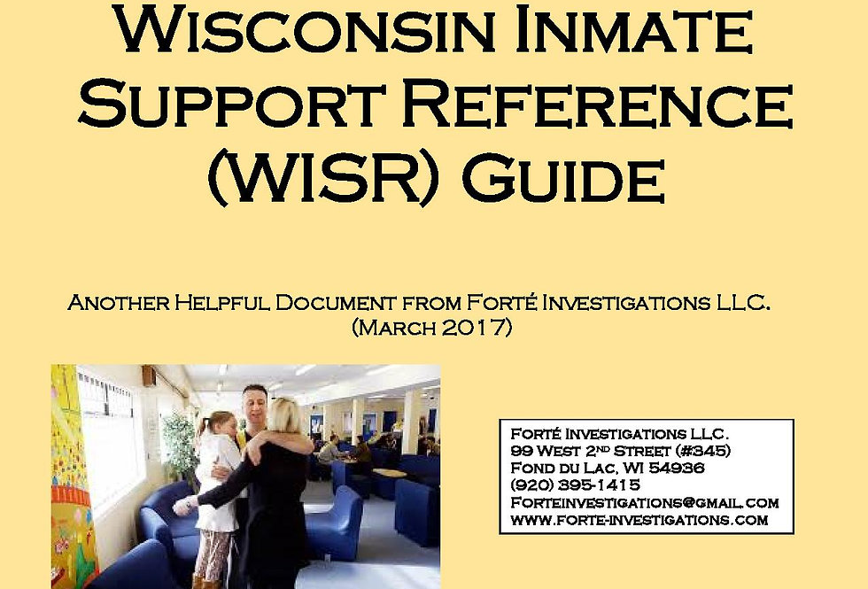 Wisconsin Inmate Support Reference (WISR) Guide - PDF Download