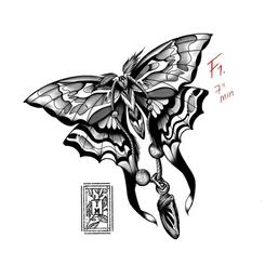 Moth with Chrysalis charm