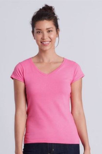 LADIES - SOFT V-Neck T-shirt - (with Heart Angel Embroidery Front & Back)