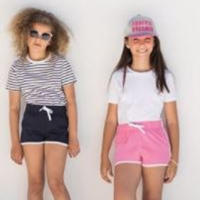 Retro Kids Shorts (Heart Angel Embroidered Logo on Front)