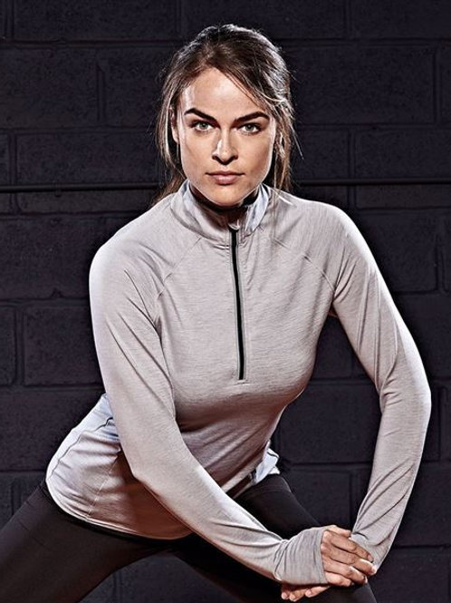 Women's Cool Flex long half-zip top (With Heart Angel Logo on the Front)