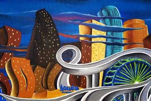 Houston Skyline Painting