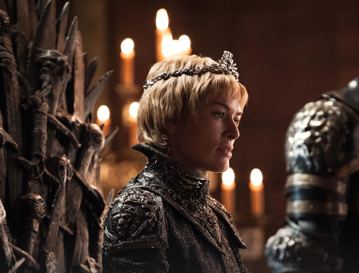 Cersei Lannister sitting on the Iron Throne