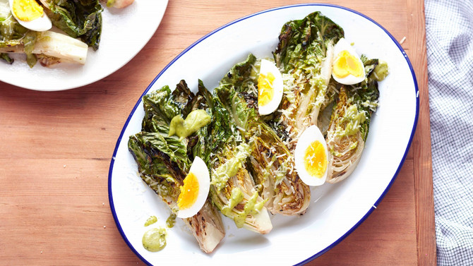 GRILLED ROMAINE SALAD WITH AVOCADO-LIME DRESSING RECIPE