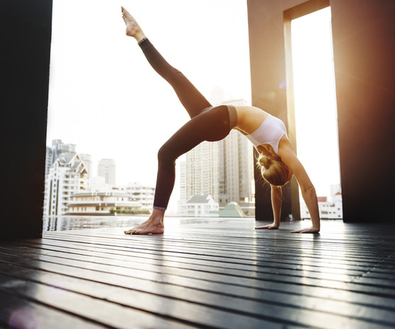 Woman Yoga Practice Pose Training Concep