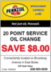 Oil Change Coupon | Boise, Idaho | Broadway Express Lube (Pennzoil)