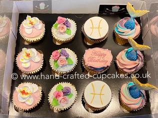 BCC-136-Mermaid-Pices-Flower-Birthday-Cupcakes