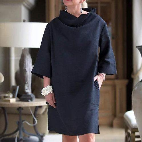 Jackie Linen Cowl Neck Dress