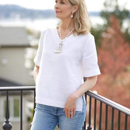 Jane Linen V-Neck Top