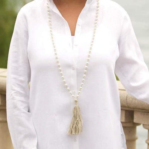 Fabric Tassel Pearl Necklace