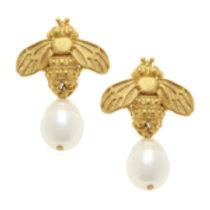 Susan Shaw Bee & Pearl Drop Earrings