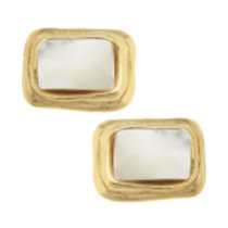 Susan Shaw Gold Rectangle Mother of Pearl Earrings