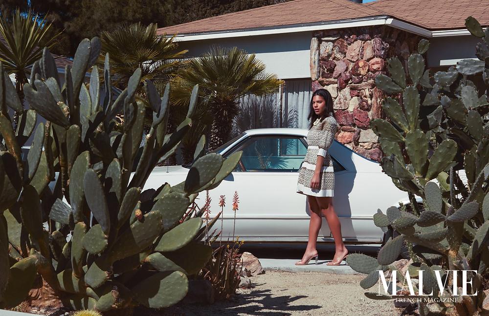 Photographer: Chris March  Wardrobe Stylist: Nicole Cloutier Model: Kendra Crockett Hair/Makeup: Miranda Richards Assistant: Danny Thompson Location: The Valley Capri North Hollywood, California