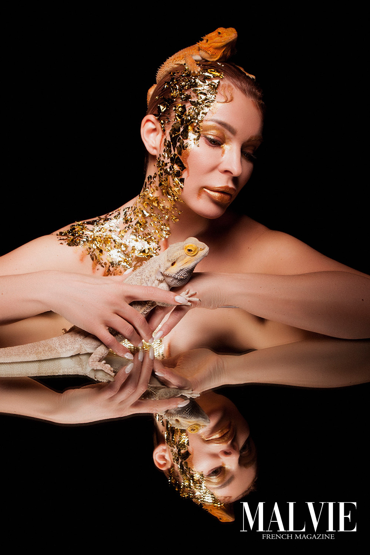 Creative Director/Photographer/Retoucher: Evgeny Zuev MUAH: Ksenya Yakovenko Model: Janna Filimonenko Rent a lizard: Roman Babkin