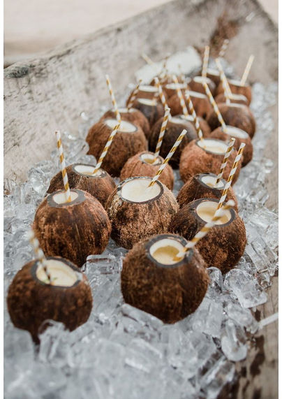Beach Wedding Coconut drinks