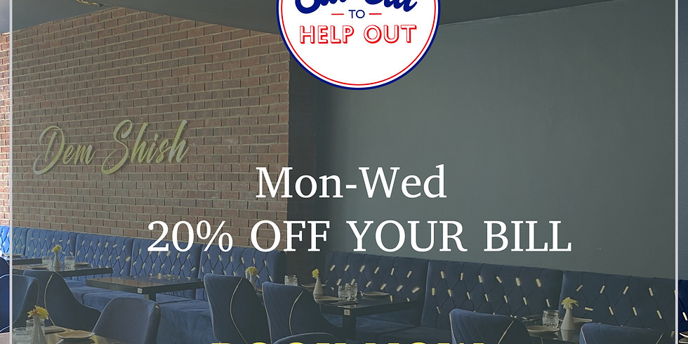 Mon-Wed 20% Off Your Bill