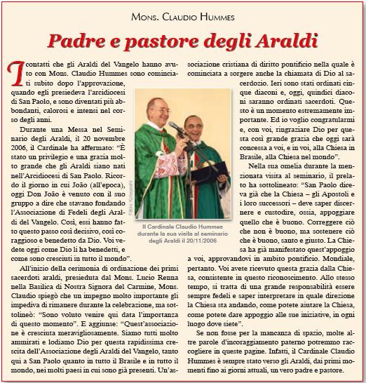 Parole di Mons. Claudio Hummes su Mons. João S. Clá Dias