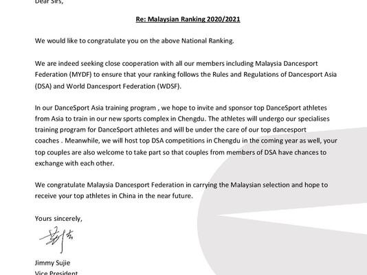 News | Dancesport Asia (DSA) Supports MYDF Malaysia Ranking!