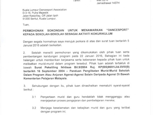 Malaysia Ministry of Education - MOE Allow KLDSA to Conduct DanceSport Training in ALl Schools