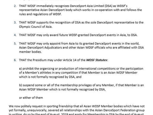 News | WDSF Recognizes DanceSport Asia As The New Representative In Asia!