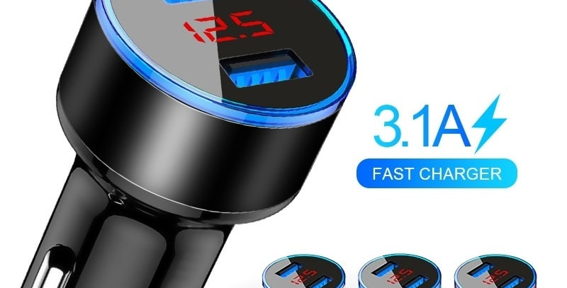 3.1A Dual USB Car Charger With LED Display Universal Mobile Phone