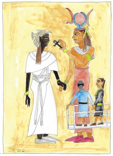 Ahmose Nefratadi receives the Ankh from Hathor