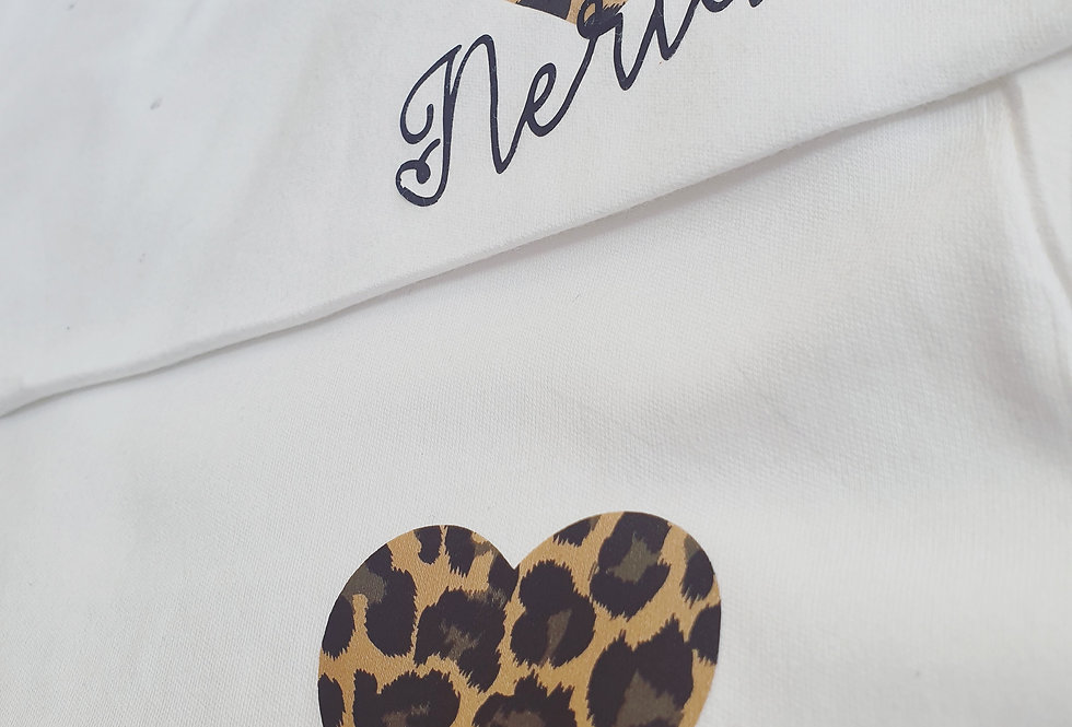 Adult Leopard print heart Personalised Tshirt