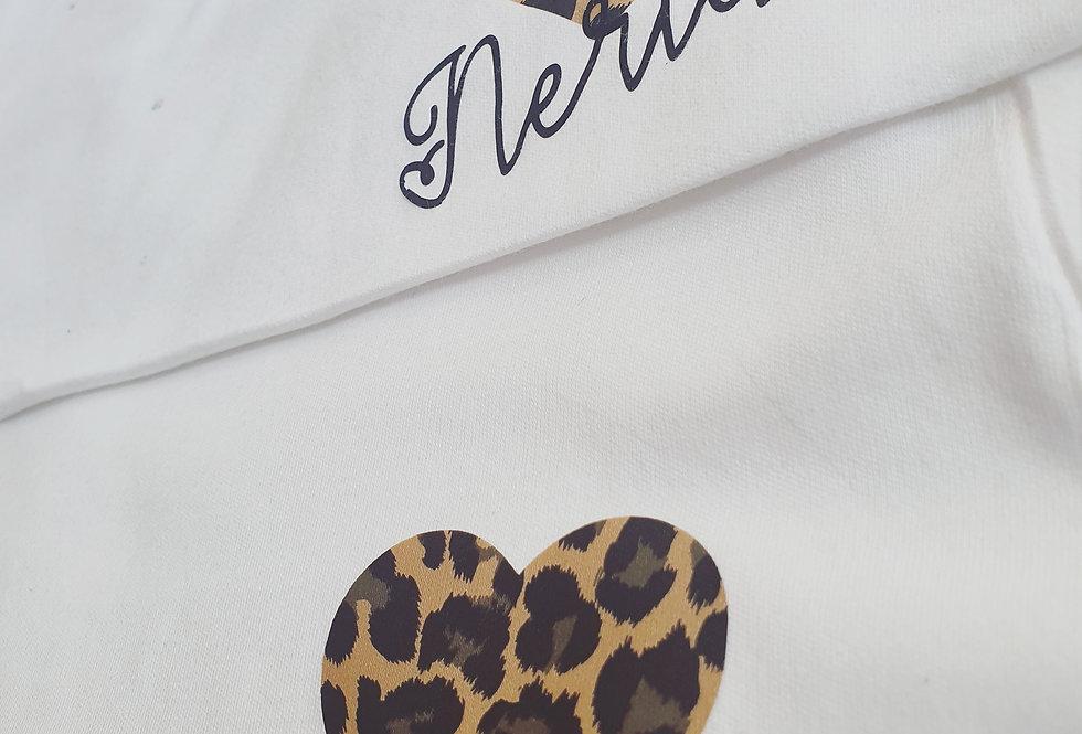 Leopard print heart Personalised Tshirt