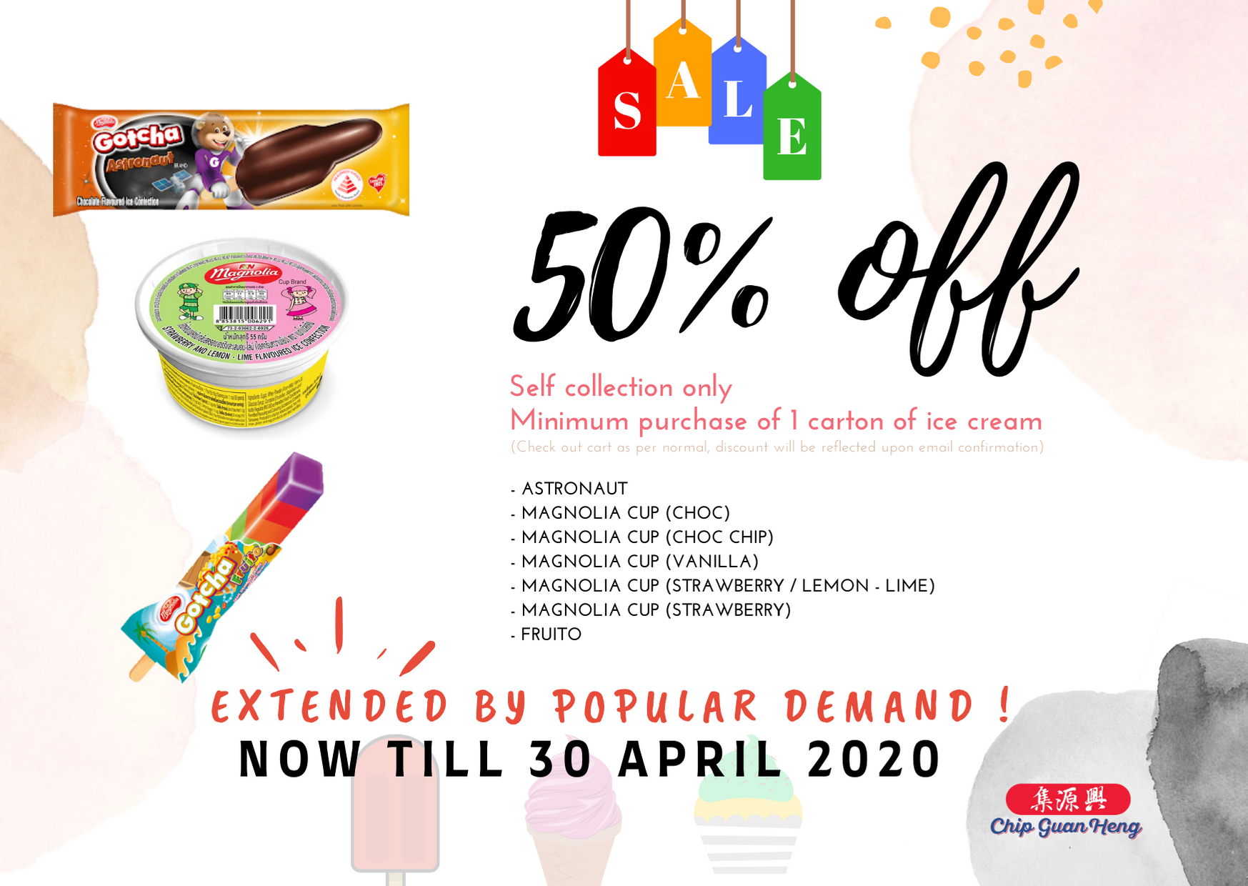 50% off Ice Cream