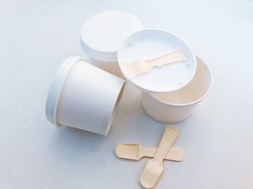 3.5 oz Paper Cup Cover with Plastic Spoon
