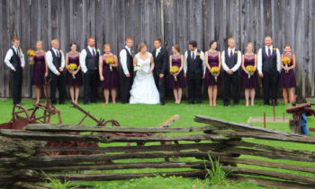 Wedding party in front of the Nesbitt Shed