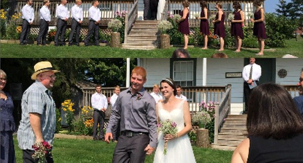 Wedding in front of Carmody House